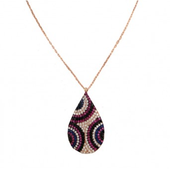 VFJ Rose gold plated silver eye drop charm necklace