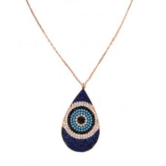 VFJ rose-goldplated -silver-eyedrop-target-charm-necklace