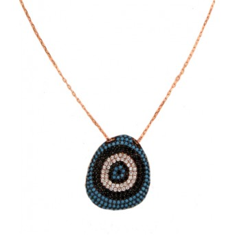VFJ Rose gold plated silver pave eye necklace
