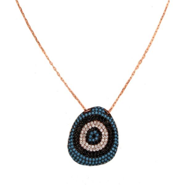 VFJ Rose gold plated silver pave eye necklace
