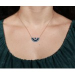 VFJ Rose gold plated silver half target eye charm necklace