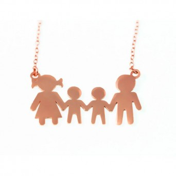 Jt Family rose gold plated silver necklace with 2 boys