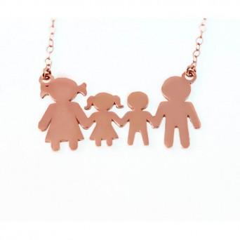 Jt Family rose gold plated silver necklace with boy and girl