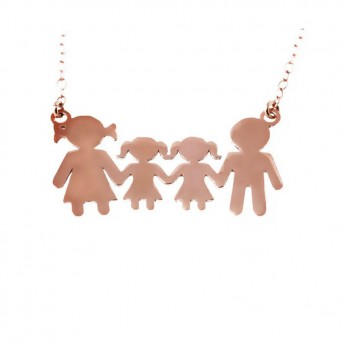 Jt Family rose gold plated silver necklace with 2 girls