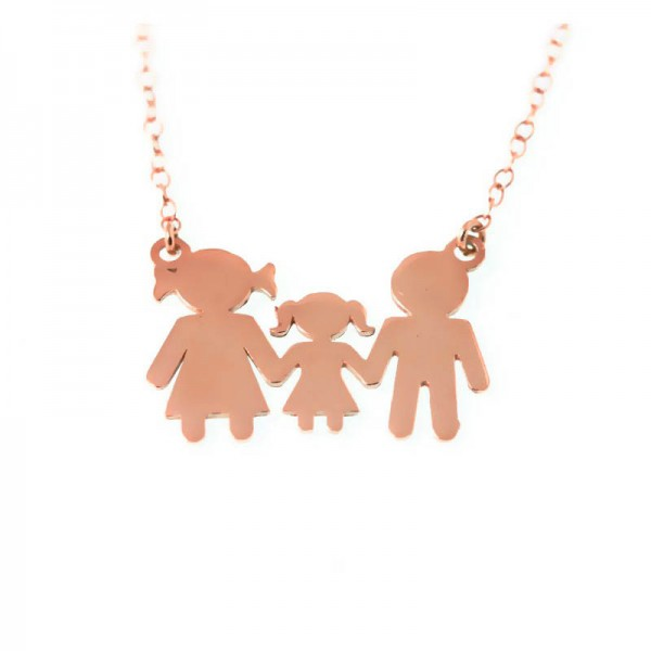Jt Family rose gold plated silver necklace with girl