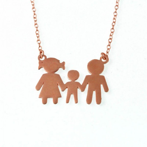 Jt Family rose gold plated silver necklace with boy
