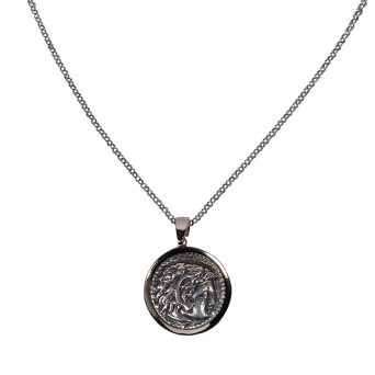Jt Silver Double Sided Alexander the Great Necklace