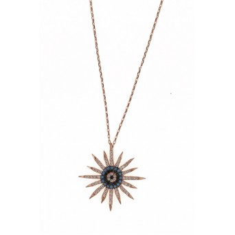 VFJ Rose sterling silver sun-eye charm necklace
