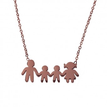 MC Rose stainless steel family necklace with 2 boys