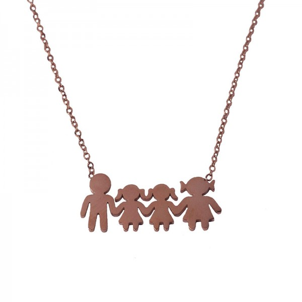 MC Rose stainless steel family necklace with 2 girls