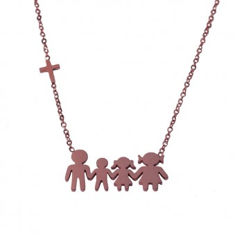MC Rose stainless steel family necklace with boy, girl and cross