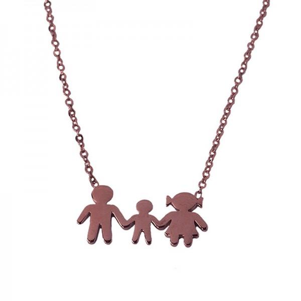 MC Rose stainless steel family necklace with 1 boy
