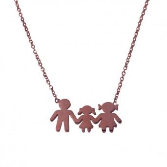 MC Ροζ ατσάλινο κολιέ οικογένεια με κορίτσι