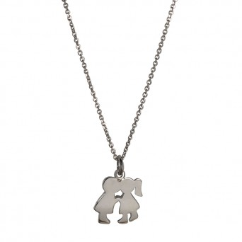 RNG Handmade silver couple necklace with chain