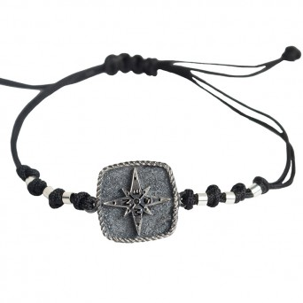 RNG Silver Black Compass Men's Bracelet on Black Cord