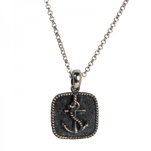 RNG Silver anchor men's necklace on chain
