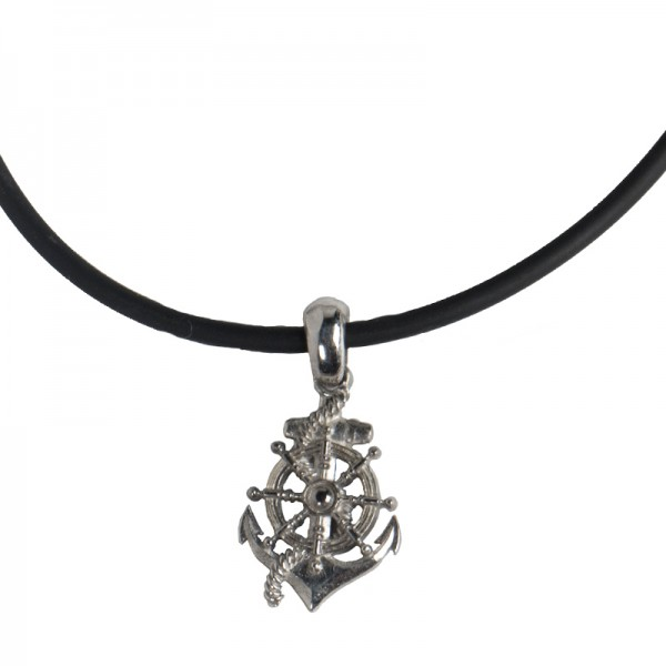 Jt Silver anchor with compass men's necklace on rubber