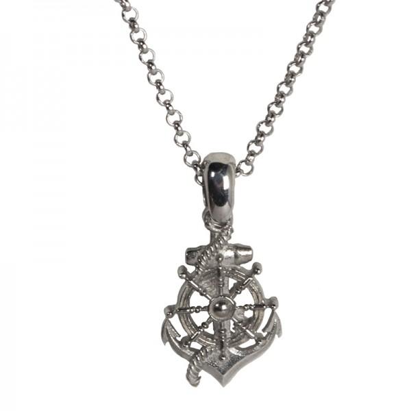 RNG Silver anchor & ship wheel men's necklace