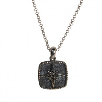RNG Silver compass men's necklace on chain