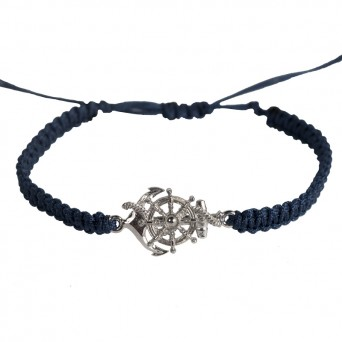RNG Silver Macrame Blue Anchor & Wheel Men's Bracelet