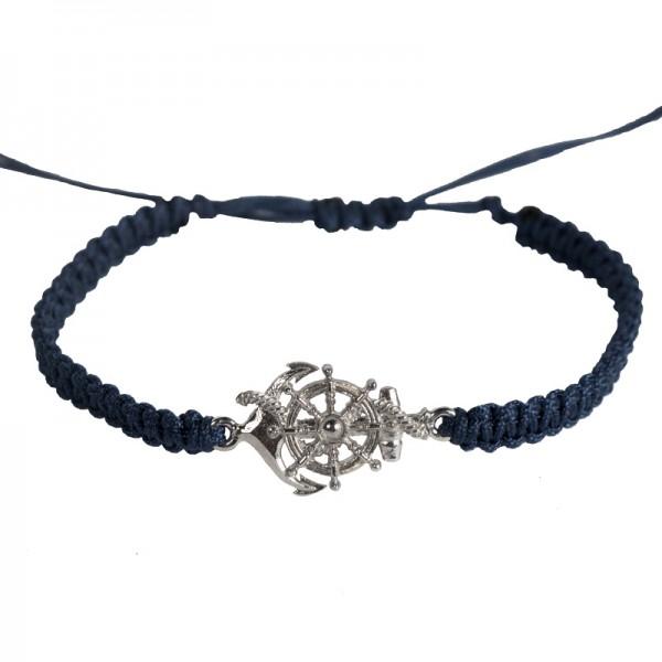 RNG Silver Macrame Blue Anchor & Wheel Men's Bracelet