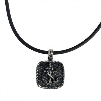 RNG Silver anchor men's necklace on rubber