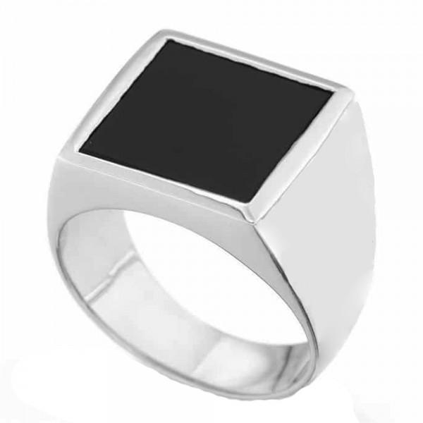 RNG Εντυπωσιακό Ανδρικό Ασημένιο Δαχτυλίδι Τετράγωνο Μαύρο