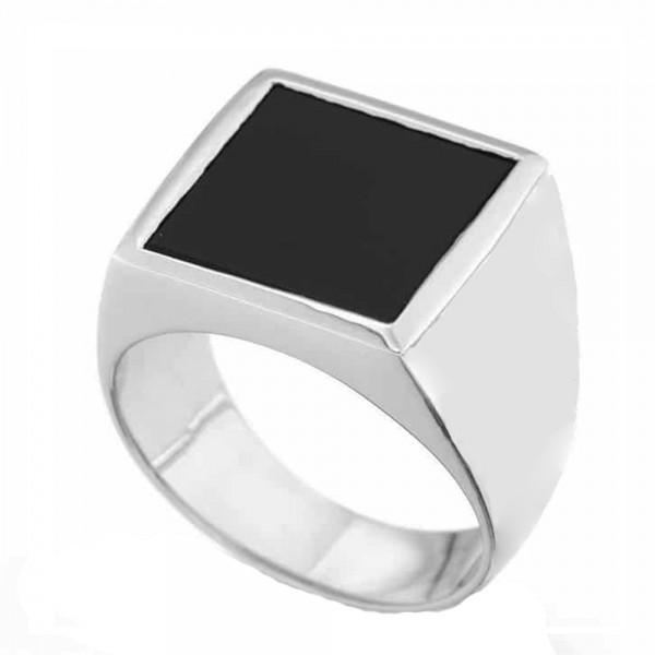 RNG Men's Square Ring with black enamel