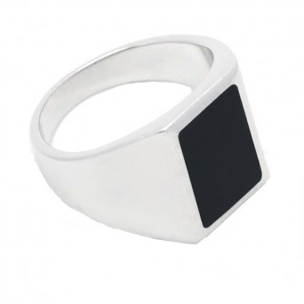 RNG Unisex Rectangular Ring with black enamel