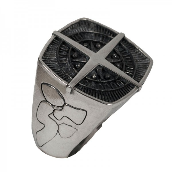 RNG Statement Men's Signet Compass Silver Ring