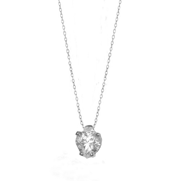 Cr Sterling silver solitaire CZ heart necklace
