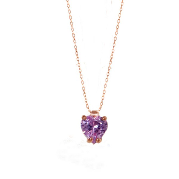 Cr Rose sterling silver purple solitaire CZ heart necklace
