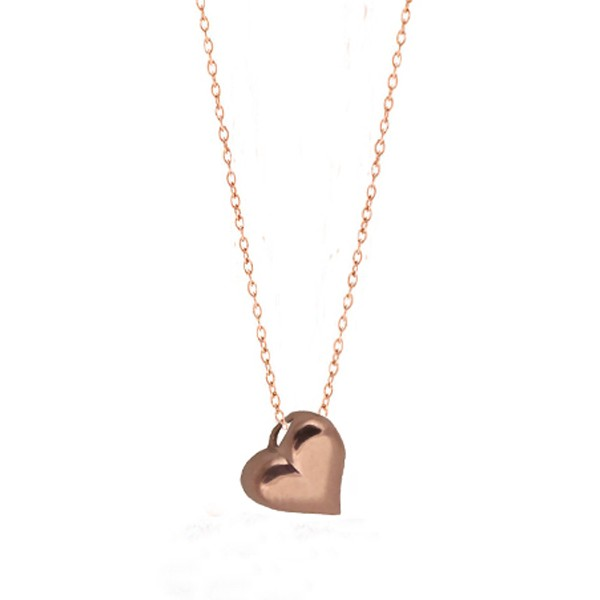 Cr Rose sterling silver heart charm necklace