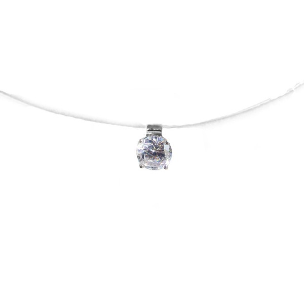 Jt Sterling silver solitaire CZ necklace on nylon thread