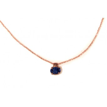Jt Rose gold plated silver blue cubic zirgonia solitaire CZ necklace