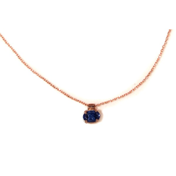 Cr Rose gold plated silver blue cubic zirgonia solitaire CZ necklace