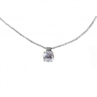 Jt Sterling silver white cubic zirgonia solitaire CZ necklace