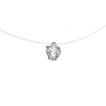 Jt Sterling silver solitaire CZ heart necklace on nylon thread