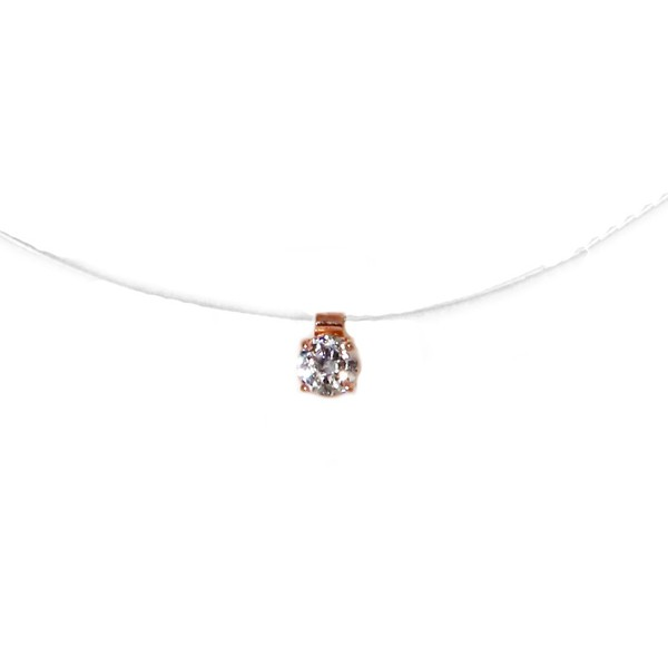 Jt Rose silver white zirgonia solitaire CZ necklace on nylon thread