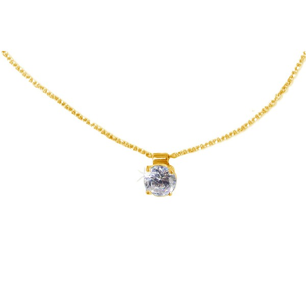 Jt Gold plated sterling silver  zirgonia solitaire CZ necklace