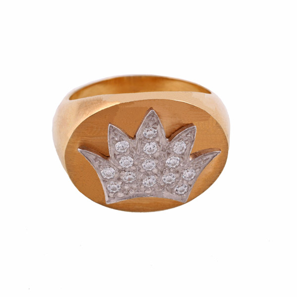 Jt Sterling Silver Gold Crown Ring with Zirconia