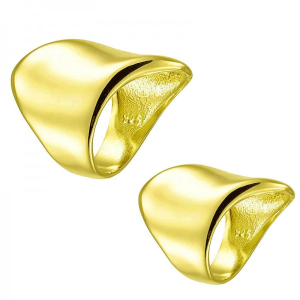 RNG Gold plated silver tube ring with waves
