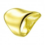 RNG Gold plated silver tube chevalie ring with waves