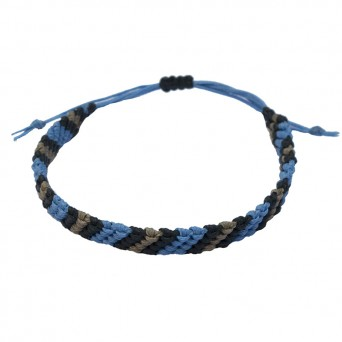 Siballba Macrame Blue Black Grey Men's Bracelet