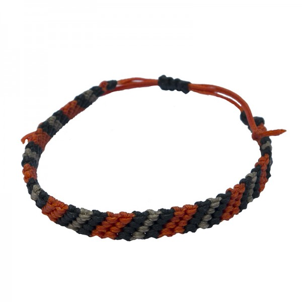Siballba Macrame Orange Black Grey Men's Bracelet