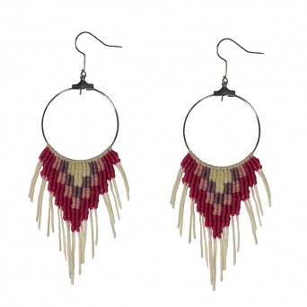 Siballba Stainless steel Boho Hoop Earrings Macrame Fuchsia