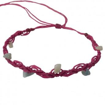 Siballba Fuchsia macrame ankle bracelet with gemstones