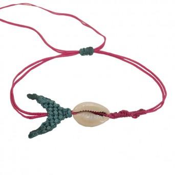 Siballba Fuchsia macrame whale ankle bracelet with seashell