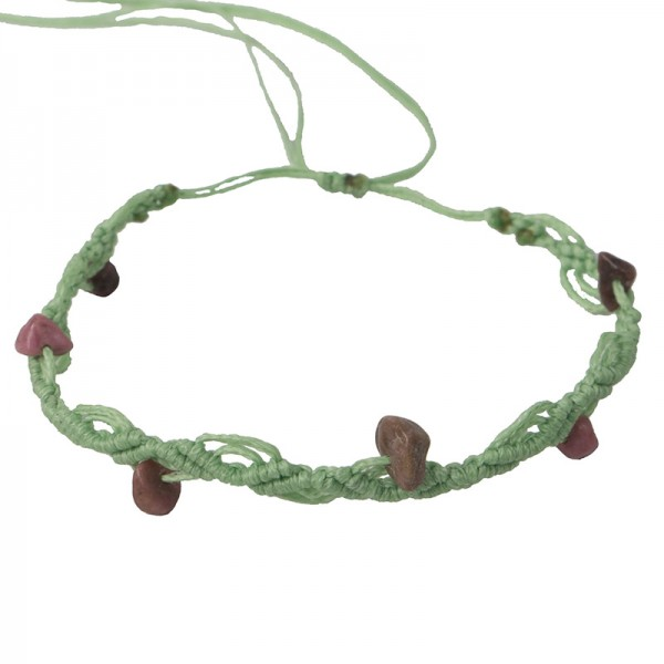 Siballba Μακραμέ βραχιόλι ποδιού φυστικί με πέτρες ροδονίτη