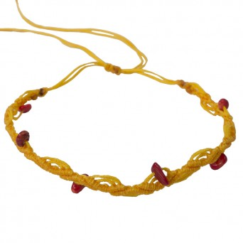 Siballba Μακραμέ βραχιόλι ποδιού κίτρινο με πέτρες κοράλι